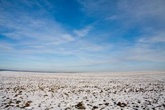 Field covered by snow Royalty Free Stock Photos