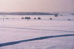 Field covered with snow from footpaths Stock Images