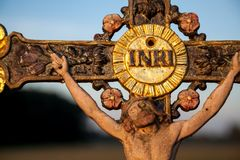 Field Cross. Closeup of a cross in the morning light royalty free stock photo