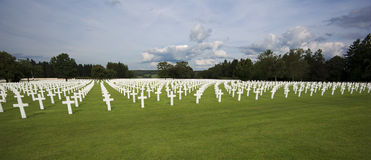 Field of crosses at the Henri Chapelle american cemetary Royalty Free Stock Photos