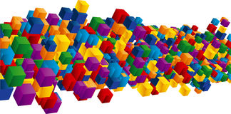 Field of cubes. Field of rainbow color cubes Stock Photo