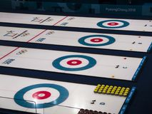 A field for curling at the Olympic Games. Pyeong Chang 2018. South Korea Royalty Free Stock Photography
