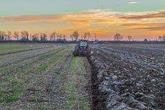 field den ploga traktoren Royaltyfri Foto