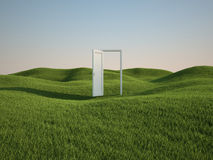 Field with door. 3d render of beautiful grass field with opened white door (clipping path Royalty Free Stock Image