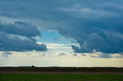 Field with dramatic blue clouds and sky Royalty Free Stock Photo