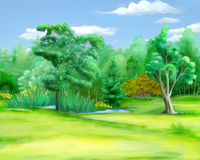 Field at the Edge of the Forest in a Summer Day. Digital Painting, Illustration of a field at the edge of the forest in a summer day. Cartoon Style Character Royalty Free Stock Photography