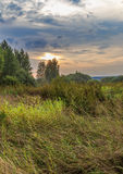 Field and edge of the forest at sunset. Early autumn Royalty Free Stock Images