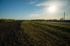 Field. The edge of the plowed field and the road stretching into the distance Stock Photos