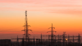 Field with electric energy. On sunrise near Bucharest Stock Photography