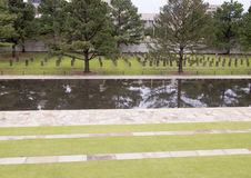 Field of Empty Chairs, granite walkway and reflective pool, Oklahoma City Memorial Stock Images