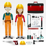 Field Engineering or technician uniform clothing, stationary and. Accessories tool box icon collection set with layout design  background for both male and Stock Photography