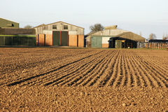 Field and Farm. Ploughed Field and English Farm Stock Image