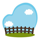 Field farm with fence scenery. Illustration design Stock Image