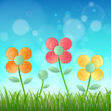 Field of flower fresh spring on blue background with bokeh Royalty Free Stock Photos