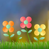 Field of flower fresh spring on blur background,. Vector illustration Stock Photo