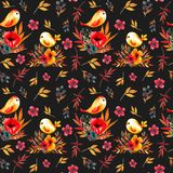 Field flower pattern with birds stock illustration