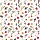 Field flower pattern with red flowers and leaves vector illustration