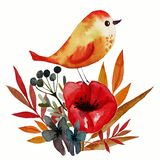Field flower print with bird vector illustration