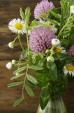 Field flowers. Closeup of field flowers bouquet in vase Royalty Free Stock Photos