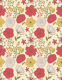 Field flowers. Seamless floral pattern with simple vintage field flowers Stock Photo
