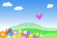 Field of flowers. A  illustration of a field with flowers and a butterfly Stock Photos