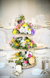 Field flowers in basket. Floral arrangement, that can be used for decorating tables at the wedding Royalty Free Stock Photography