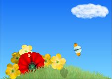 Field with flowers. And butterfly again blue sky Royalty Free Stock Photography