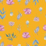 Field flowers and herbs seamless pattern