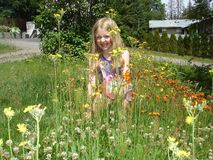 Field of flowers with a little girl Royalty Free Stock Photo