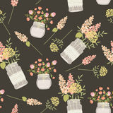 Field flowers in mason jars. Seamless vector pattern. Vintage style template for fabric printing, wrapping paper, wallpaper, background, scrapbook sheets. Eps Stock Images