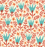 Field flowers pattern. Seamless pattern with various summer flowers and leaves scalable and editable Stock Photography