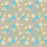 Field flowers on pattern. Field flowers and butterfly on pattern Stock Photos