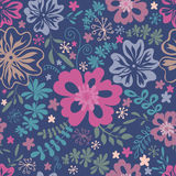 Field  flowers seamless pattern. Stylized  multicoloured field  flowers seamless pattern. Vector illustration Stock Image