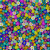 Field of flowers seamless pattern. Field of flowers, seamless pattern, multicolor doodle style texture Stock Photos