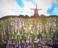 Field of flowers and wind mill. Original art. Painting on silk. Stock Photo