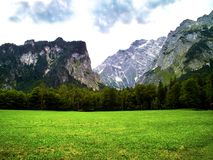 A field in the forest among the mountains royalty free stock images