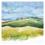 Field and forest. Watercolor background. Watercolor Nature background. Field and forest, summer landscape. Hand drawn painting Royalty Free Stock Photo