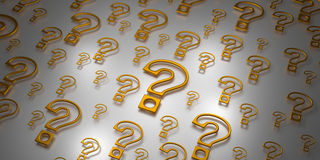 Field Full Of 3D Question Marks. Field Full Of 3D Golden Question Marks In Various Sizes Stock Image