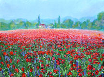 A field full of poppies, acrylic painting. Original painting of a field full of poppies lavender flowers with a clear blue sky, trees, landscape, grass, bushes Royalty Free Stock Photo