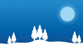 Field full snow Christmas landscape Royalty Free Stock Photography
