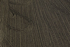 Field with Furrows And Tracks Royalty Free Stock Photos