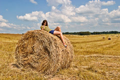 Field and girl Stock Image