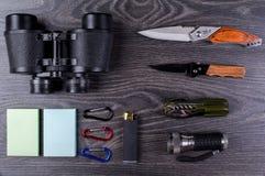 Field-glass, knife, turisticheksy set, Royalty Free Stock Image
