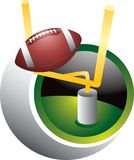 Field Goal Kick. Football goes over the goal post Royalty Free Stock Photo
