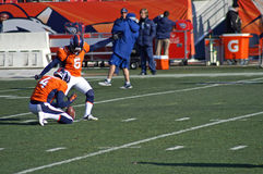 Field Goal. Matt Prater during warm up before his record setting 64 yard field goal at mile royalty free stock photography