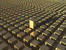 Field of golden blocks. An illustration of a field of golden blocks with one standing taller Royalty Free Stock Images