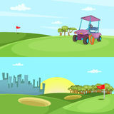 Field of golf banner set horizontal, cartoon style. Field of golf banner set horizontal in cartoon style for any design vector illustration Royalty Free Stock Photo