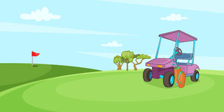 Field of golf horizontal banner, cartoon style Stock Photos