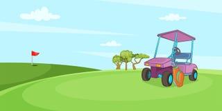 Field of golf horizontal banner, cartoon style. Field of golf horizontal banner concept. Cartoon illustration of field of golf vector horizontal banner for web Stock Photos