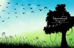 Field of grass background with silhouette tree and flying birds. Illustration of Field of grass background with silhouette tree and flying birds Stock Photo
